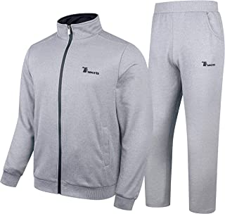 YSENTO Men's Activewear Fleece Tracksuits 2 Pieces Jacket & Pants Full Zip Jogging Sweatsuit Sportswear