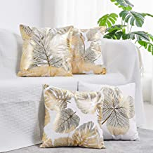 NeatBlanc Pack of 4 Decorative Throw Pillow Case Cushion Cover Gold Stamping Leaves 18 x 18 inches 45 x 45 cm for Couch Be...