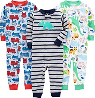 Baby Boys' 3-Pack Snug Fit Footless Cotton Pajamas, Fire...