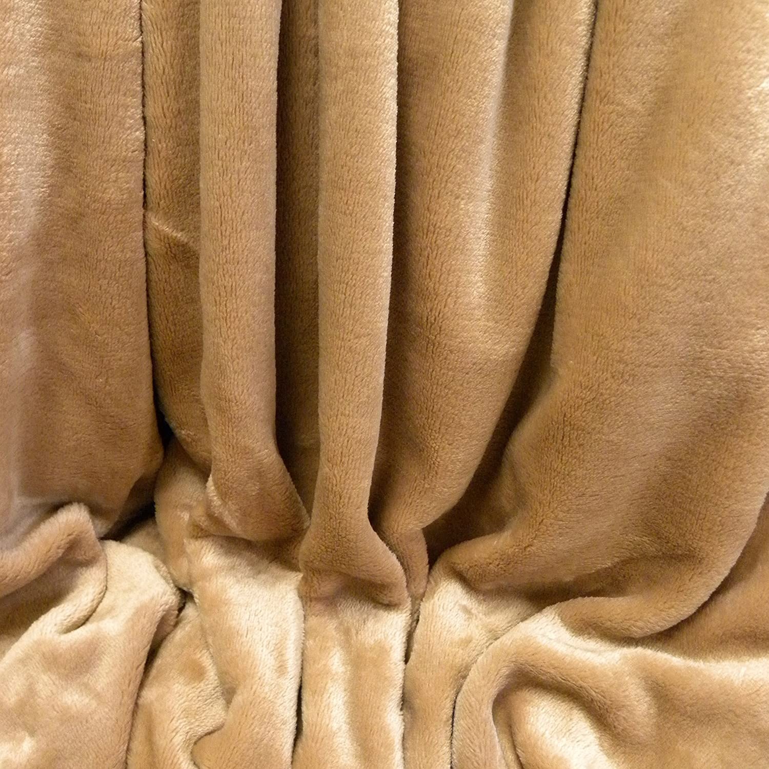 Berkshire VelvetLoft Polyester Blankets, Tan Full Queen