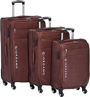 طقم حقائب سفر جرارة من جيوردانو، 3 قطع مع 4 عجلات، لون بني - 161712