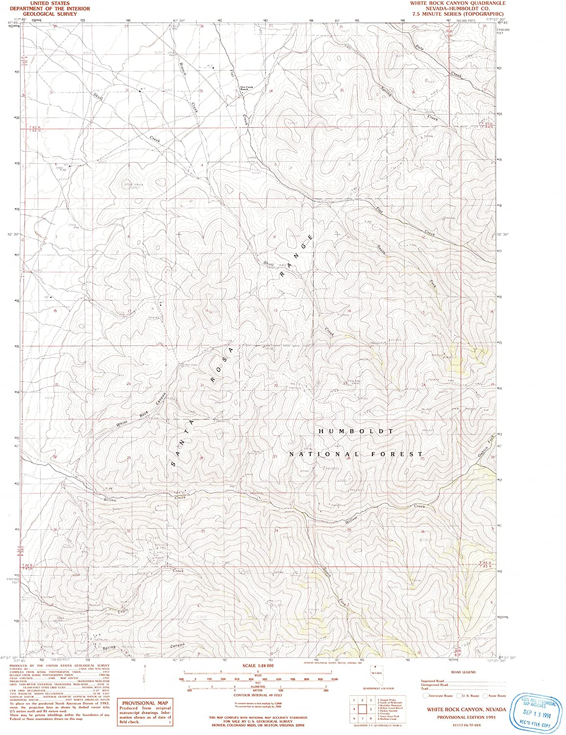 White Rock Canyon NV topo map, 1 24000 Scale, 7.5 X 7.5 Minute, Historical, 1991, Updated 1991, 26.9 x 22 in