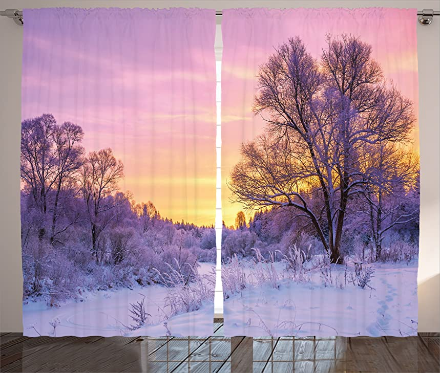 Ambesonne Farm House Decor Curtains, Winter Landscape with Sunset and Frozen Trees Ice Weather Blizzard Cold Days Image, Living Room Bedroom Decor, 2 Panel Set, 108 W X 90 L inches, Pink White