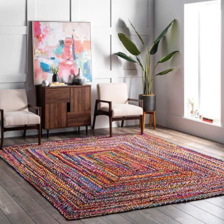 Amazon Com Nuloom Tammara Boho Cotton Hand Braided Accent Rug 2 X 3 Multi Furniture Decor