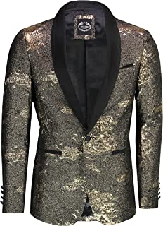 Mens Retro Designer Style Gold Glitter Tailored Fit Tuxedo Jacket Funky Party Blazer
