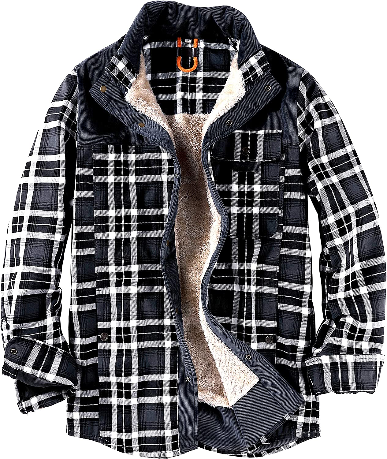 Gihuo Men's Casual Winter Sherpa Lined Button Down Plaid Shirt Jacket Shacket