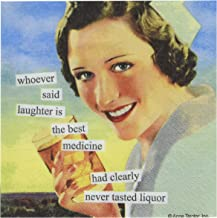 Paperproducts Design 6957 Anne Taintor Beverage/Cocktail Napkin,5x5 inches, 20 napkins, Whoever Said Laughter is The Best Medicine Had Clearly Never Tasted Liquor