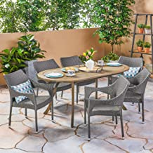 Christopher Knight Home Harris Outdoor 7 Piece Wood and Wicker Dining Set, Gray Finish and Gray