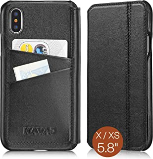 KAVAJ iPhone X/XS Case Leather Dallas Black, Supports Wireless Charging (Qi), Slim-Fit Genuine Leather iPhone X Wallet Cas...