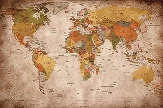 GREAT ART Fotomural mapamundi - Motivo de Estilo Vintage y Retro – Mural de mapamundi XXL – Decoración Mural