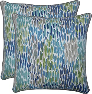 Pillow Perfect Outdoor | Indoor Make It Rain Cerulean 18.5-inch Throw Pillow (Set of 2), Blue