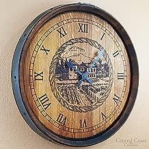 Central Coast Creations Barrel Top Old Winery Clock - Wine Barrel Handcrafted Wine Barrel Furniture