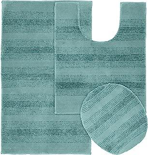 Garland Rug 3-Piece Essence Nylon Washable Bathroom Rug Set, Seafoam