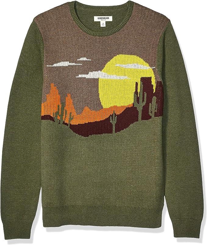 Men's Vintage Sweaters, Retro Jumpers 1920s to 1980s Amazon Brand - Goodthreads Mens Soft Cotton Crewneck Sweater  AT vintagedancer.com