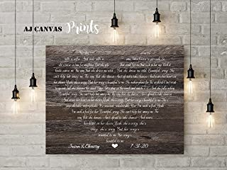 First Dance Lyrics Canvas, Song Lyric Wall Art, Personalized Newlywed Gifts, for him, 25th Wedding (16x20, Unframed Print)