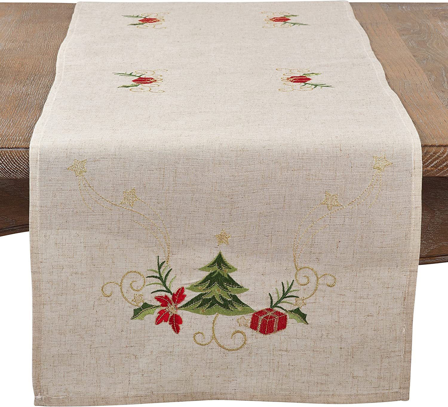 Amazon Com Natural Color Embroidered Christmas Table Runner 16 X72 Oblong Home Kitchen