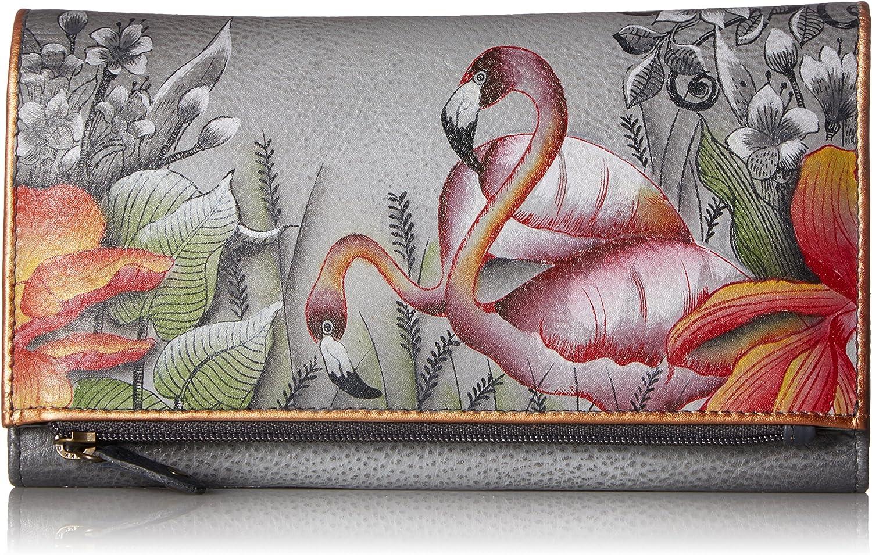 Anuschka Womens Handpainted Leather Three Fold Clutch-flamboyant Flmingos Wallet One Size
