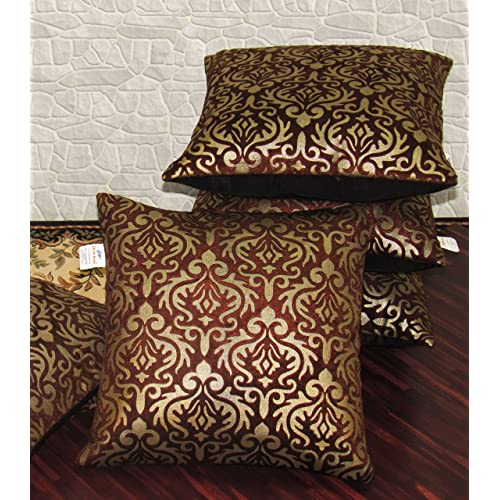 Zikrak Exim 5 Piece Small Size Cushion Cover Set - 12'' x 12'', Brown/Gold