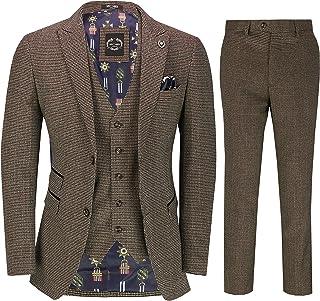 Costume Pi/èce 3 Houndstooth Hommes Classique des Ann/ées 1920 R/étro Gatsby /Él/égant Veste Cintr/ée Pantalon Gilet