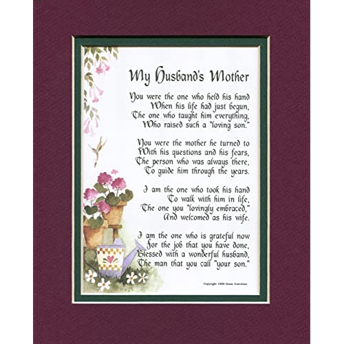 My Husbands Mother A Mothers Day Gift Poem Birthday Present For In