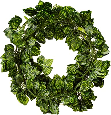 Fourwalls Artificial Green Ivy Vines/Leaves for Wall Decoration, Wedding Decoration, Party Decoration Indoor/Outdoor (195 cm, Red,Set of 12)