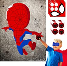 Ticiaga 30pcs Spiderman Kids Party Stickers Game, Pin The Eyes Chest Signs and Spiderweb On Large Spiderman Poster Good for Big Superhero Theme Birthday Party, Kids Room Wall Decor, Hero Party Favor