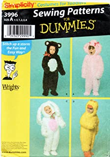 Simplicity 3996 Toddler Costume Sewing Pattern for Dummies Size 1/2-1-2-3-4 Bunny, Duck, Bear, Rabbit