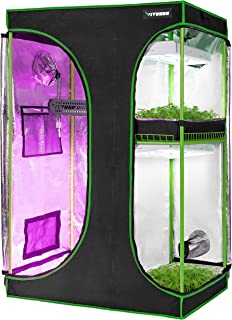 "VIVOSUN 2-in-1 60""x48""x80"" Mylar Reflective Grow Tent for Indoor Hydroponic Growing System"
