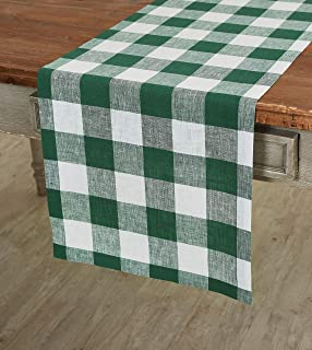 Solino Home 100% Pure Linen Buffalo Check Table Runner – 14 x 36 Inch Green & White Checks Table Runner Natural Fabric Han...