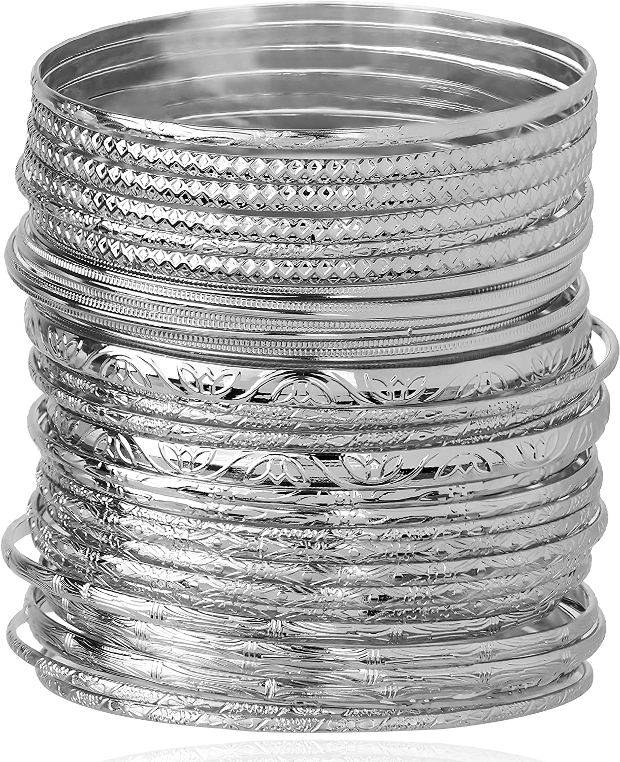 Lux Accessories Textured Heart Moon Infinity Multi Bangle Set (30 PC)