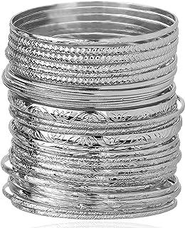 Lux Accessories Textured Heart Moon Infinity Multi Bangle Bracelet Set (30 PC).
