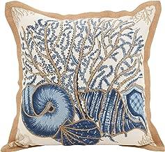 SARO LIFESTYLE Neptunian Collection Seashells Cotton Throw Pillow, 20