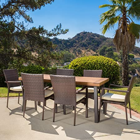 Amazon Com Christopher Knight Home Castlelake 7 Piece Outdoor Dining Set With Cushions Perfect For Patio In Brown Garden Outdoor