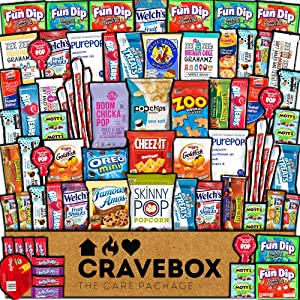 CraveBox Care Package (75 Count) Snacks Food Cookies Chocolate Bar Chips Candy Ultimate Variety Gift Box Pack Assortment Basket Bundle Mix Bulk Sampler Treat College Students Exam Office Back to School