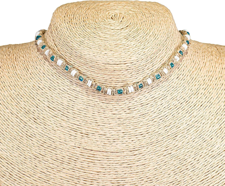 BlueRica Hemp Choker Necklace with Puka Shell Beads