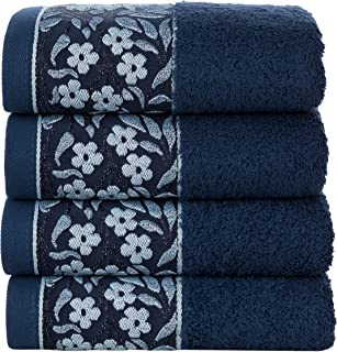 HYGGE [4-Pack] Premium Turkish Quick Dry Luxury Hotel & SPA 750 GSM 100% Cotton Large Hand Towel with Floral Jacquard 19