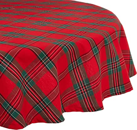DII Holiday Plaid Round Tablecloth,  100% Cotton with 1/2 Hem for Holiday,  Family Gatherings,  & Christmas Dinner (70 - Seats 4 to 6)