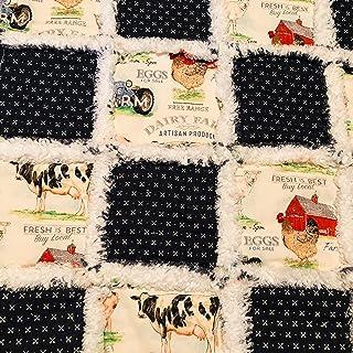 Vintage farm scenes on this mini baby rag quilt lovey
