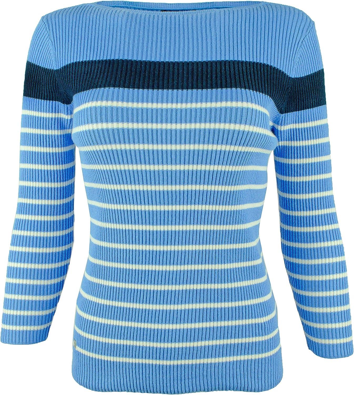 LAUREN RALPH LAUREN Womens Leslie Striped Fitted Pullover Sweater