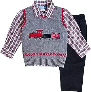 Good Lad Toddler & 4/7 Boys Three Piece Grey Train Appliqued Sweater Set