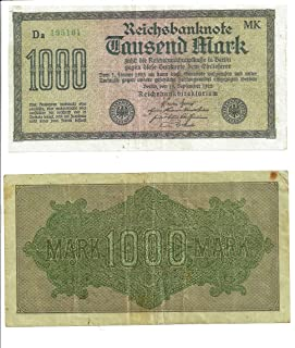German Reich Currency Bill - Authentic Deutsche Reichsbanknote Tausend Mark (1,000 Marks) - Dated: Berlin, September 15, 1922
