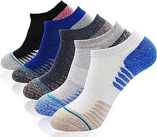 Calcetines Cortos de Algodón para Hombre, Respirable Calcetines de Antideslizantes para Hombre, Calcetines Invisibles de Deporte Colegio Negocio Corriendo, Talla 38-44, 5 pares