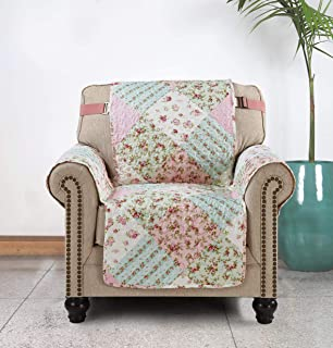 Sofa Chair Protector 23 Inch Patchwork Pet Proof Furniture Cover for Living Room Floral Print Reversible Quilted Scroll , Enhanced Strap, Machine Wash Arm Chair Slip Cover Not Leather, Pink/Green