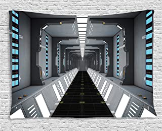 Ambesonne Apartment Decor Collection, Futuristic Scifi Corridor Space Ship Station Science Fiction Laboratory Picture Print, Bedroom Living Room Dorm Wall Hanging Tapestry, 80 X 60 Inches, Grey
