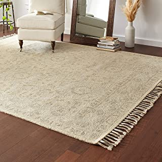 Stone & Beam Heidi Floral Farmhouse Wool Area Rug, 8 x 10 Foot, Beige