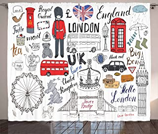 Ambesonne Doodle Curtains, I Love London Double Decker Bus Telephone Booth Cab Crown of United Kingdom Big Ben, Living Room Bedroom Window Drapes 2 Panel Set, 108