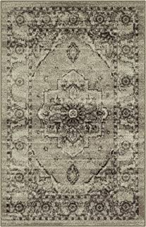Maples Rugs Kitchen Rugs - Distressed Lexington 2'6 x 3'10 Non Skid Washable Throw Rugs [Made in USA] for Entryway and Bedroom, Neutral