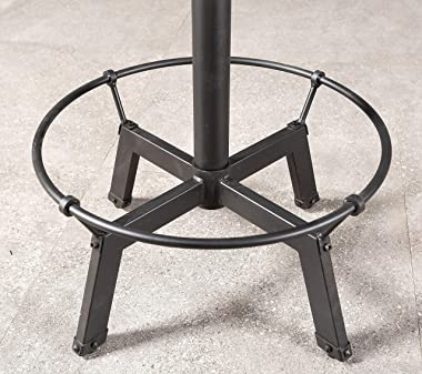 Industrial Bar Table-33.5-39.4 Inch Tall-Adjustable Bar Height Pub Table-23.7 Inch Swivel Round Wood Top Metal Base-Easily Ad