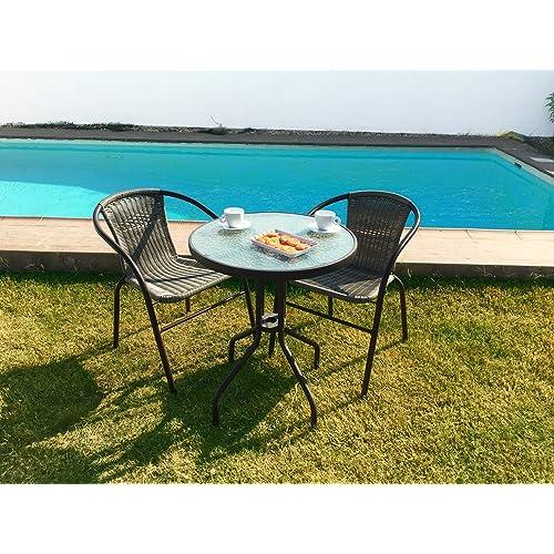KieferGarden Gastroset Conjunto de Mesa y 2 sillas para jardín y terraza en ratán sintético