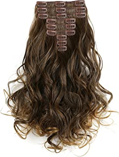 """OneDor 20"""" Curly Full Head Synthetic Kanekalon Heat Resistant Clip in Hair Extension 9pcs (R1416T)"""